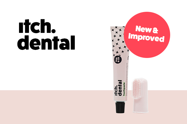 Itch Dental pet-friendly toothpaste with tube and finger brush